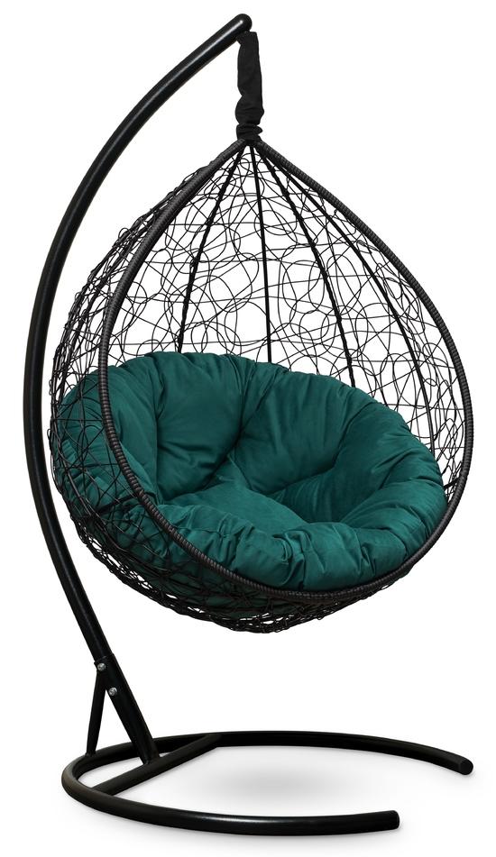 Фото №4 Подвесное кресло SEVILLA VERDE VELOUR черное + каркас