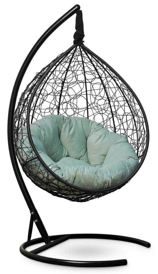 Фото №7 Подвесное кресло SEVILLA VERDE VELOUR черное + каркас