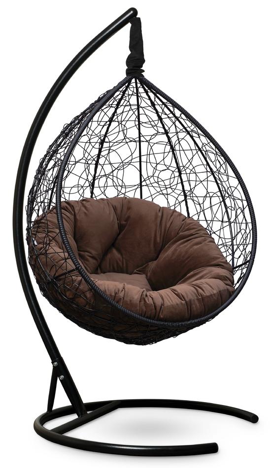 Фото №8 Подвесное кресло SEVILLA VERDE VELOUR черное + каркас