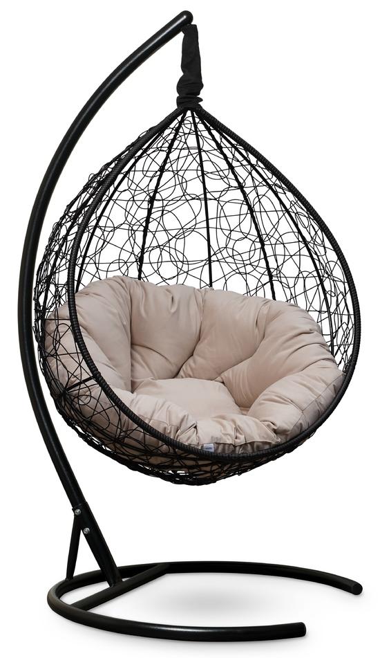 Фото №10 Подвесное кресло SEVILLA VERDE VELOUR черное + каркас