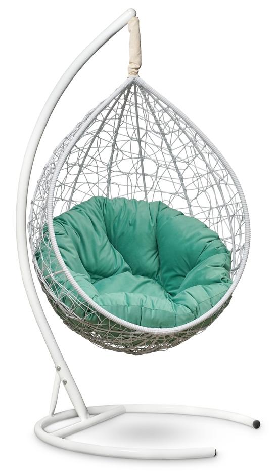 Фото №6 Подвесное кресло SEVILLA VERDE VELOUR белое + каркас