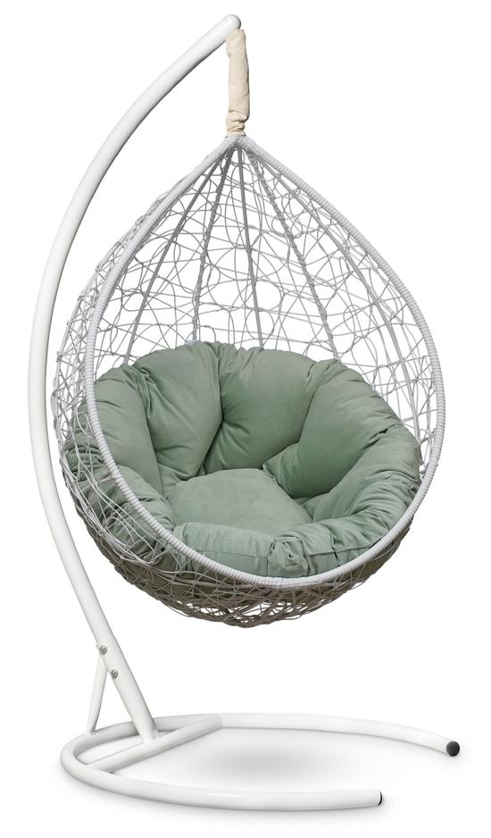 Фото №2 Подвесное кресло SEVILLA VERDE VELOUR белое + каркас