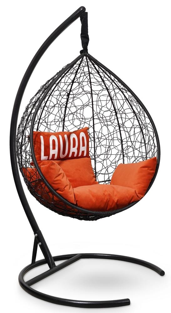 Фото №3 Подвесное кресло SEVILLA VELOUR черное + каркас