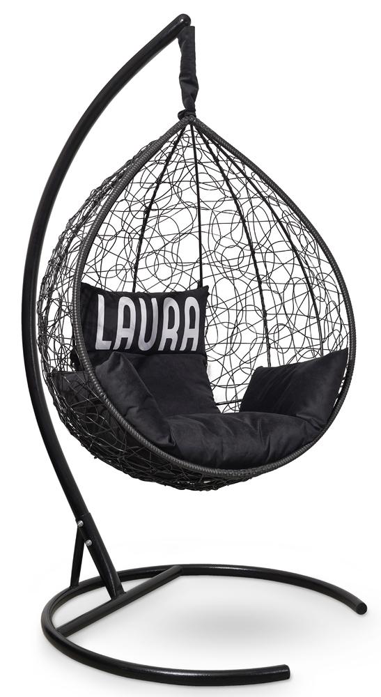 Фото №4 Подвесное кресло SEVILLA VELOUR черное + каркас