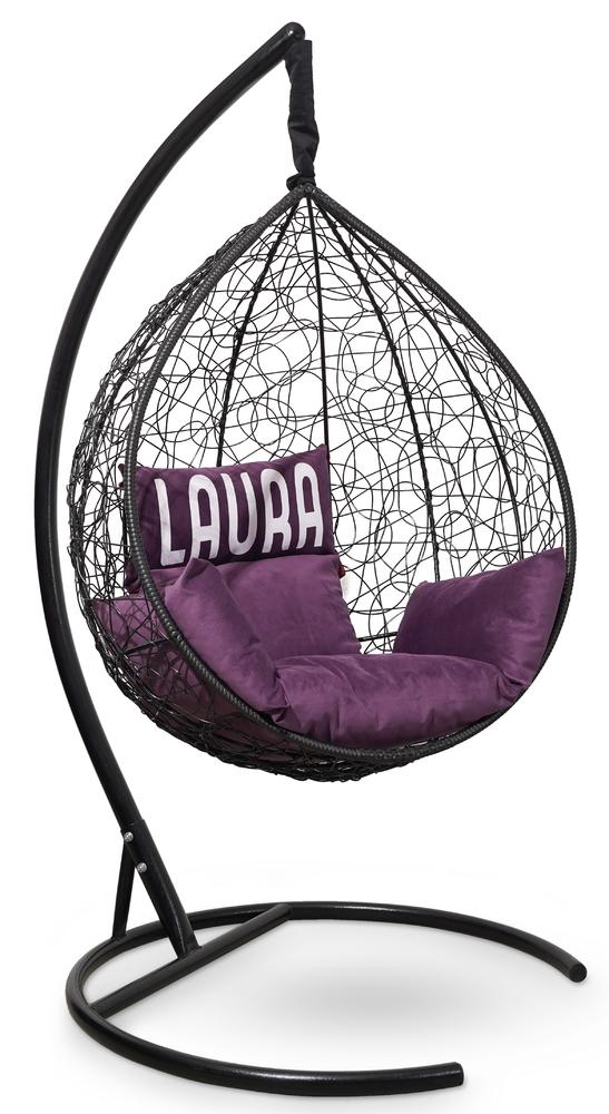 Фото №2 Подвесное кресло SEVILLA VELOUR черное + каркас