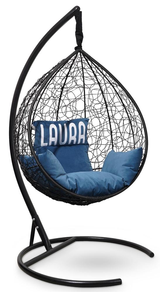Фото №6 Подвесное кресло SEVILLA VELOUR черное + каркас