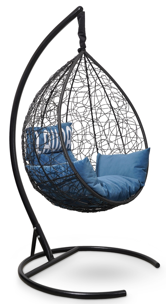 Фото №7 Подвесное кресло SEVILLA VELOUR черное + каркас