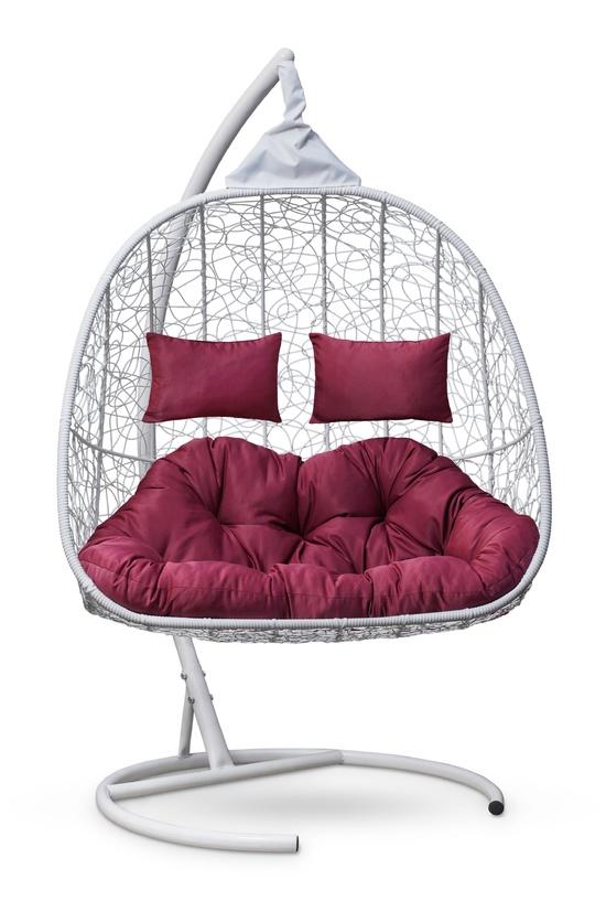 Фото №2 Подвесное кресло-кокон SEVILLA TWIN белое + каркас