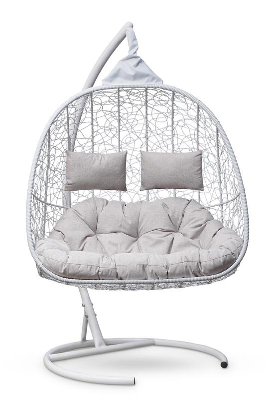 Фото №4 Подвесное кресло-кокон SEVILLA TWIN белое + каркас
