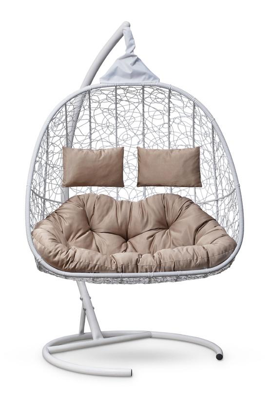 Фото №6 Подвесное кресло-кокон SEVILLA TWIN белое + каркас