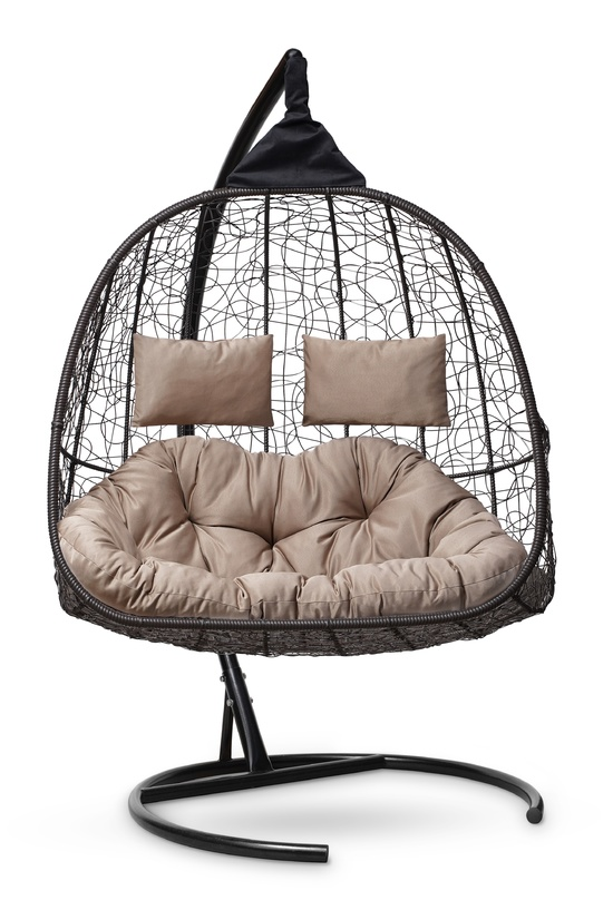 Фото №6 Подвесное кресло-кокон SEVILLA TWIN коричневое + каркас