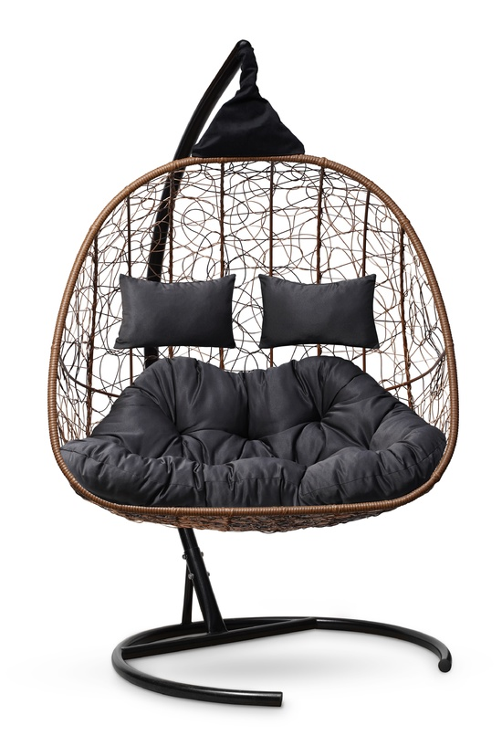 Фото №2 Подвесное кресло-кокон SEVILLA TWIN горячий шоколад + каркас