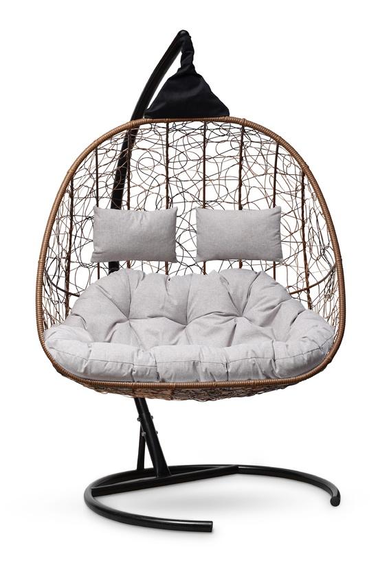 Фото №4 Подвесное кресло-кокон SEVILLA TWIN горячий шоколад + каркас