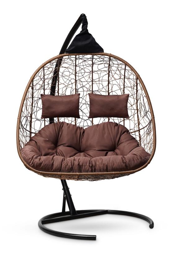 Фото №5 Подвесное кресло-кокон SEVILLA TWIN горячий шоколад + каркас