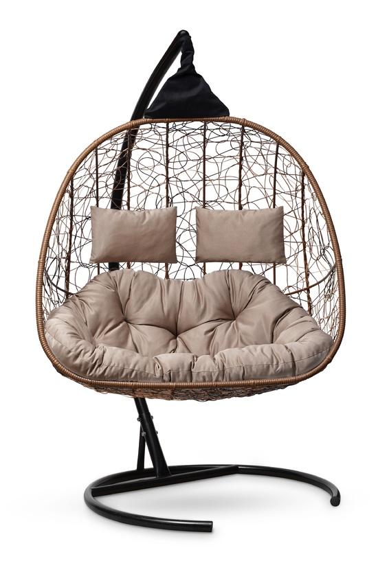 Фото №6 Подвесное кресло-кокон SEVILLA TWIN горячий шоколад + каркас