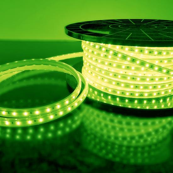 Фото №2 Светодиодная лента LS004 220V 4,8W 60Led 2835 IP65 зеленый, 50 м