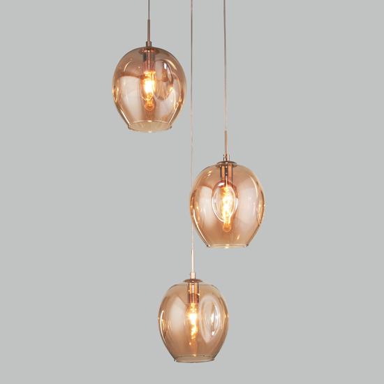 Фото №2 Подвесной светильник со стеклянными плафонами 50195/3 золото