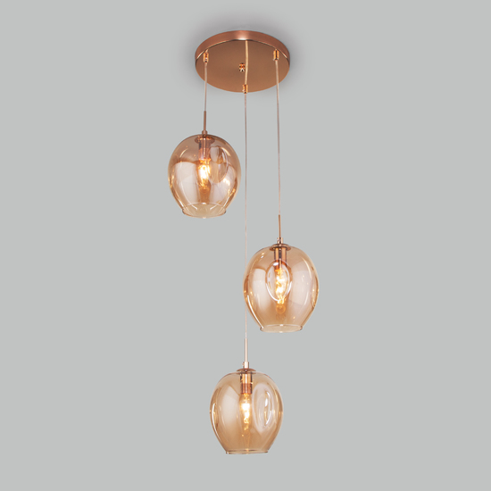 Фото №3 Подвесной светильник со стеклянными плафонами 50195/3 золото