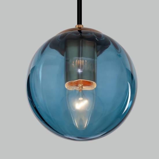 Фото №4 Подвесной светильник со стеклянным плафоном 50207/1 синий