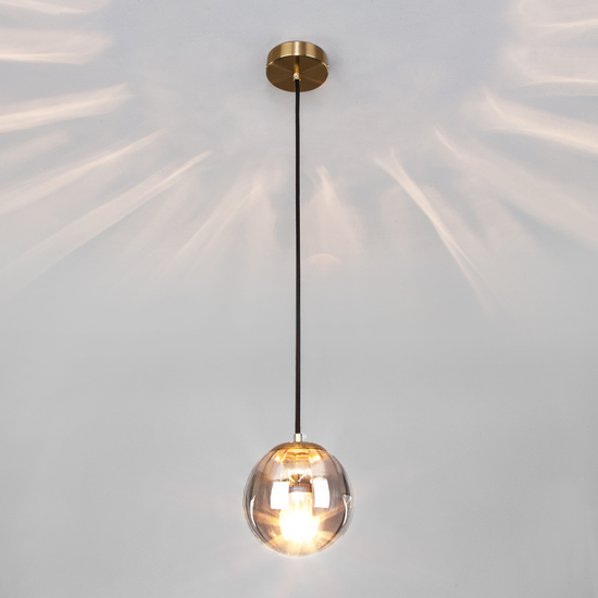 Фото №4 Подвесной светильник со стеклянным плафоном 50207/1 дымчатый