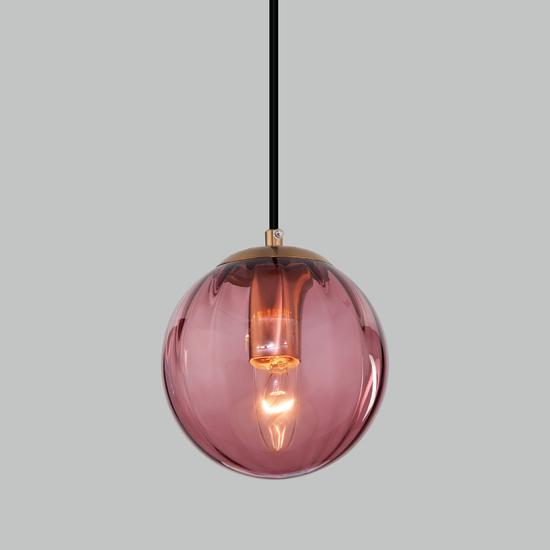 Фото №2 Подвесной светильник со стеклянным плафоном 50207/1 бордовый