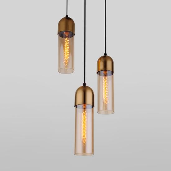 Фото №2 Подвесной светильник со стеклянными плафонами 50180/3 янтарный