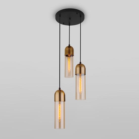 Фото №3 Подвесной светильник со стеклянными плафонами 50180/3 янтарный