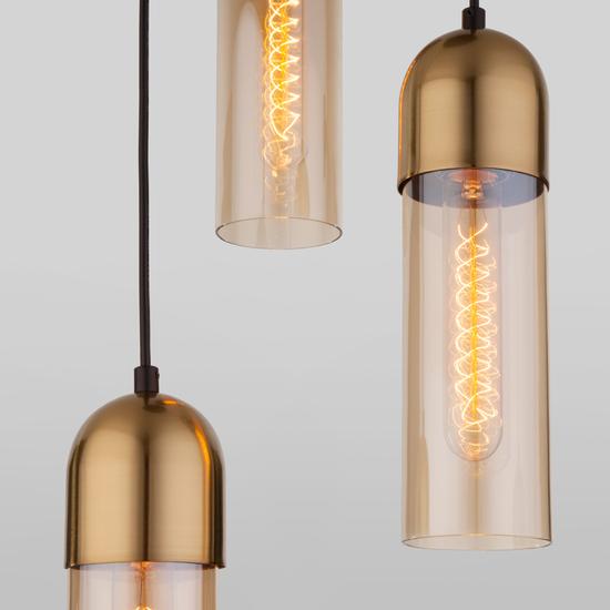 Фото №5 Подвесной светильник со стеклянными плафонами 50180/3 янтарный