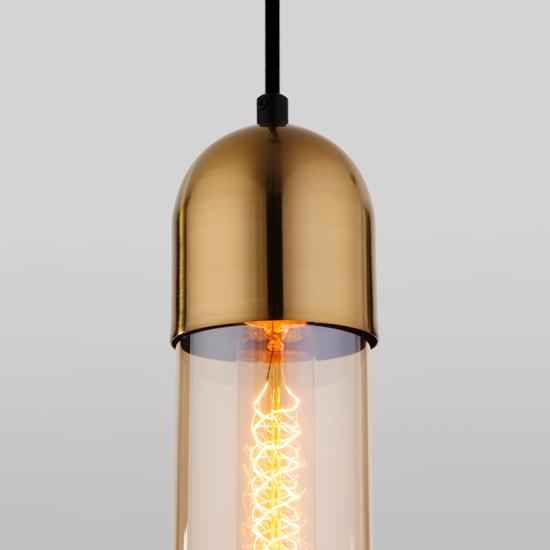 Фото №4 Подвесной светильник со стеклянным плафоном 50180/1 янтарный