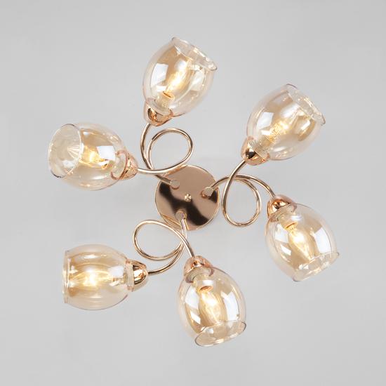 Фото №3 Потолочная люстра со стеклянными плафонами 30171/6 золото