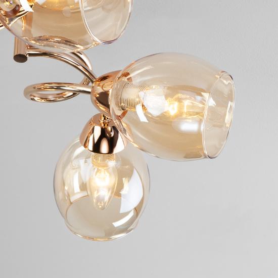 Фото №4 Потолочная люстра со стеклянными плафонами 30171/6 золото