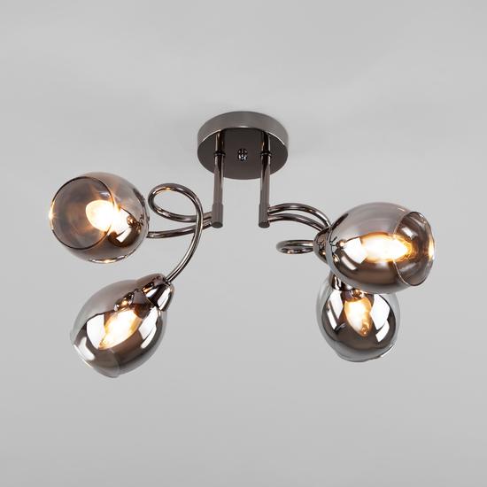 Фото №2 Потолочная люстра со стеклянными плафонами 30171/4 черный жемчуг