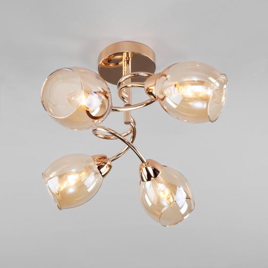 Фото №4 Потолочная люстра со стеклянными плафонами 30171/4 золото