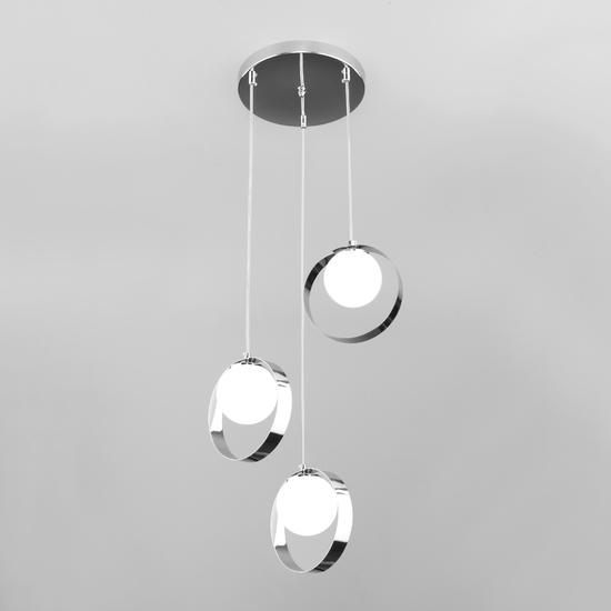 Фото №2 Потолочный светильник со стеклянными плафонами 50205/3 хром