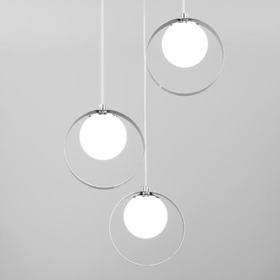 Фото №3 Потолочный светильник со стеклянными плафонами 50205/3 хром