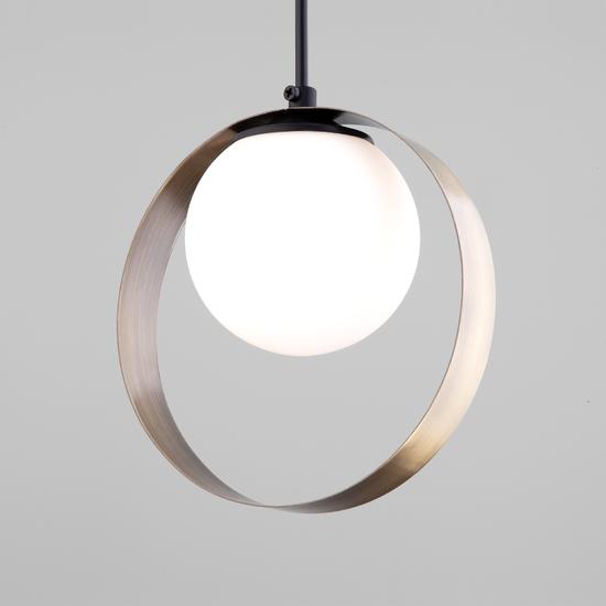 Фото №2 Подвесной светильник со стеклянным плафоном 50205/1 черный/бронза