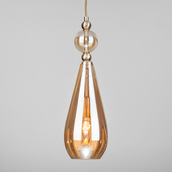 Фото №2 Подвесной светильник со стеклянным плафоном 50202/1 янтарный