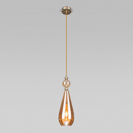 Фото №3 Подвесной светильник со стеклянным плафоном 50202/1 янтарный