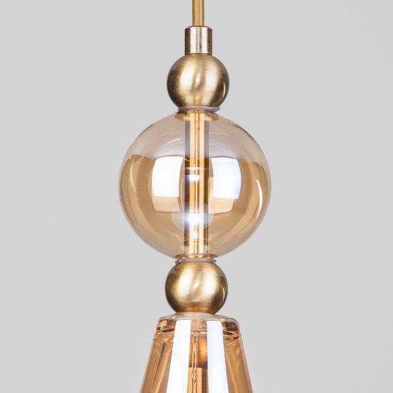 Фото №4 Подвесной светильник со стеклянным плафоном 50202/1 янтарный
