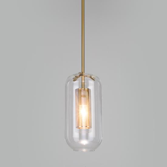 Фото №2 Подвесной светильник со стеклянным плафоном 50201/1 бронза