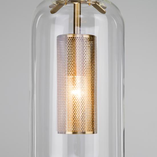 Фото №4 Подвесной светильник со стеклянным плафоном 50201/1 бронза