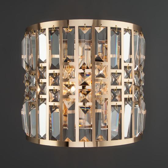 Фото №3 Настенный светильник с хрусталем 10116/2 золото/прозрачный хрусталь Strotskis
