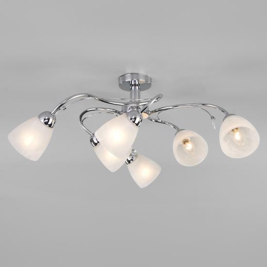 Фото №2 Потолочный светильник со стеклянными плафонами 30169/6 хром