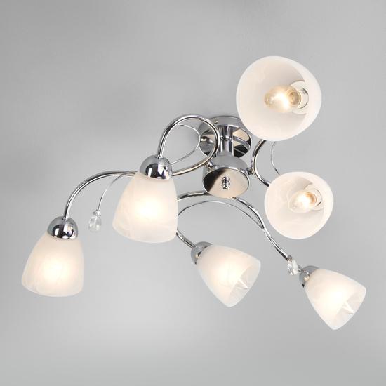 Фото №3 Потолочный светильник со стеклянными плафонами 30169/6 хром