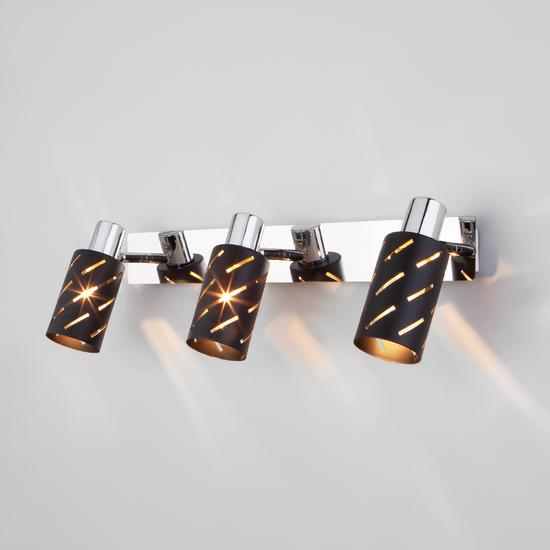 Фото №2 Настенный светильник с поворотными плафонами 20090/3 черный/хром