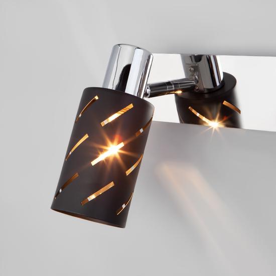 Фото №3 Настенный светильник с поворотными плафонами 20090/3 черный/хром