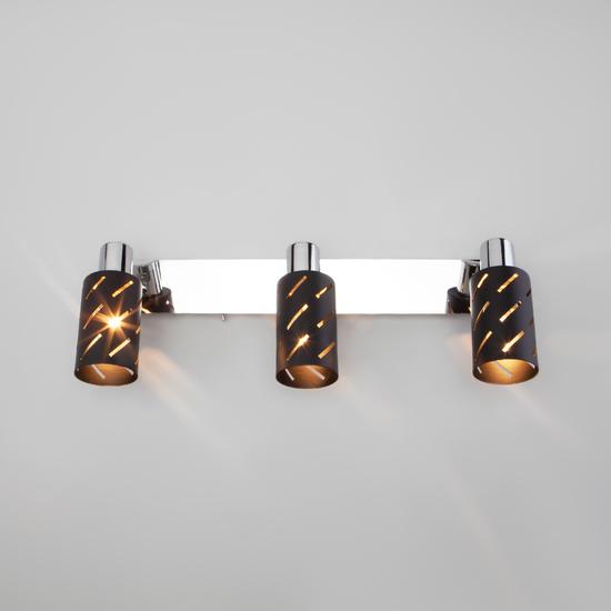 Фото №4 Настенный светильник с поворотными плафонами 20090/3 черный/хром