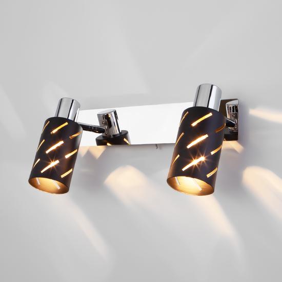 Фото №2 Настенный светильник с поворотными плафонами 20090/2 черный/хром