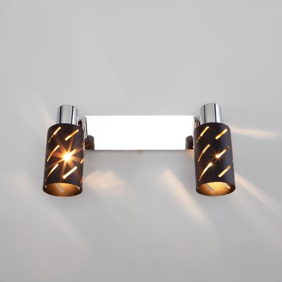 Фото №4 Настенный светильник с поворотными плафонами 20090/2 черный/хром