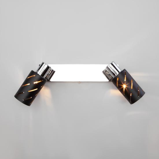 Фото №5 Настенный светильник с поворотными плафонами 20090/2 черный/хром